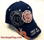 BALLCAP: Fire Department Hat flames